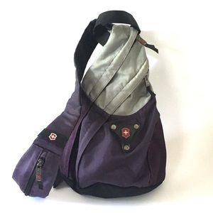 Victorinox Teardrop Monosling Bag in Purple & Gray